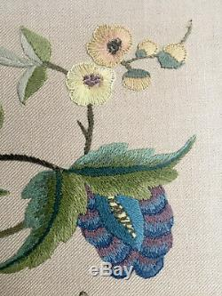 Vintage Jacobean Style Crewel Work Embroidery Tapestry Panel floral birds snake