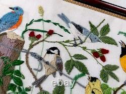 Vintage LARGE Framed / Glazed Hand Embroidered BIRDS Picture 24x14 Inches