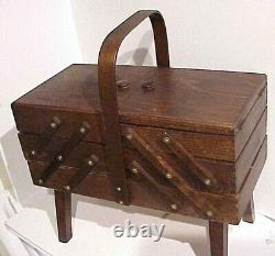 Vintage Large Quality Handcrafted Wooden Expandable Bentwood Handle Sewing Box
