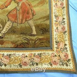Vintage Medieval Woven Tapestry Wall Hanging Hunt Scene 48 x 62