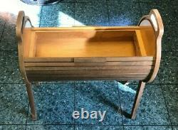 Vintage Mid Century Danish Roll Top Wood Sewing Storage Box MCM Accent Table