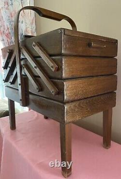 Vintage Mid Century Romania Fold Out Accordion Style Wood Sewing Box EC CLEAN