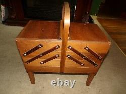 Vintage Mid Century Strommen Bruk Hamar Norway Accordion Sewing Box WithCONTENTS