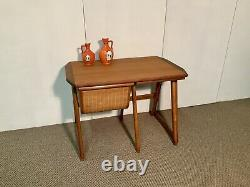 Vintage Modern Scandinavian Sewing Table With Basket And Chair