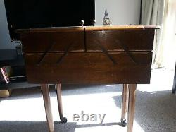 Vintage Sewing Box Wooden Cantelever On Legs