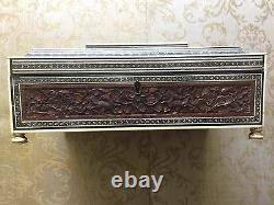 Vintage Well-Preserved Wooden Sewing Box With Hand Crafted Flowers