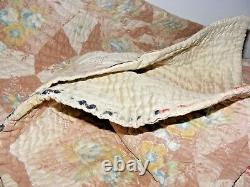 Vintage Welsh Durham Hand Stitched Quilt Roses & Satin 74 X 74 Double / King