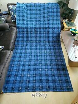 Vintage Welsh Wool Blanket Tapestry Curtain 10ft Quilt Throw Fabric Antique