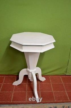 Vintage White & Turquoise Trumpet Sewing / Lamp / Wine Occasional Table