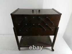Vintage Wooden Brown 3 Tier Sewing Box/Cantilever On Castors Sewing Storage H25