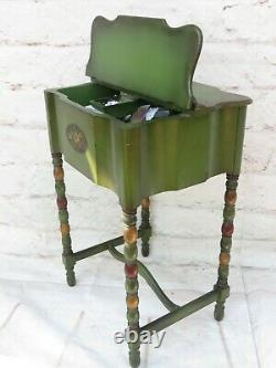 Vintage Wooden Sewing Box Cabinet Stand Green w Tole Design Turned Legs & Handle
