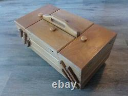 Vintage Wooden Sewing Box Made in Romania Original in Very Good Condition