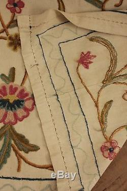 Vintage crewelwork wool bedspread bed cover spread French old coverlet 88 X 66