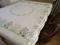 Vintage hand embroidered linen Fairistytch tablecloth Snow drops and Violets