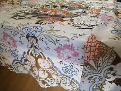 Vintage hand embroidered linen tablecloth and 8 napkins Madeira Fruit florals
