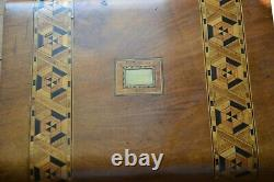 Vintage marquetry sewing box with working lock and key