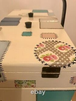 Vintage wooden cantilever sewing box Upcycled
