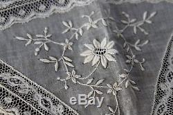 Vtg Antique French Normandy Lace Tablecloth NOS Excellent Net Flower Basket Net