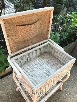Vtg French Cottage Chic White Wicker Rattan Basket Standing Sewing Box Table