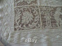 Wow Antique Italian Linen Figural Lace Tablecloth 111 Bedspread Hand Made  Embr