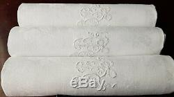 XXL GORGEOUS Antique French Pure Linen DAMASK 8 napkins hand monogrammed BR